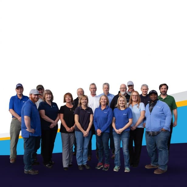 Seventeen individuals of various ethnicities, ages, and genders comprising the ToledoTel Team.
